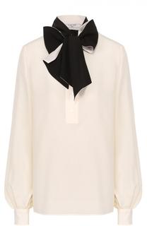 Шелковая блуза с накладными карманами и воротником-стойкой Lanvin