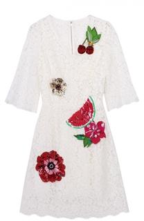 Кружевное мини-платье с контрастной отделкой Dolce & Gabbana