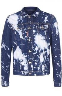 Джинсовая куртка на пуговицах с принтом Dsquared2