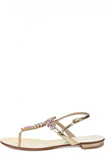 Кожаные сандалии с кристаллами Swarovski Le Silla