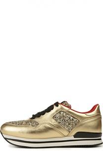 Кожаные кроссовки H222 с глиттером Hogan