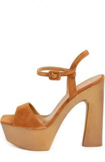 Замшевые босоножки на устойчивом каблуке Le Silla