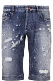 Джинсовые шорты с декоративными потертостями и контрастным принтом Philipp Plein