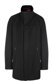 Пальто на молнии А-силуэта с воротником-стойкой HUGO