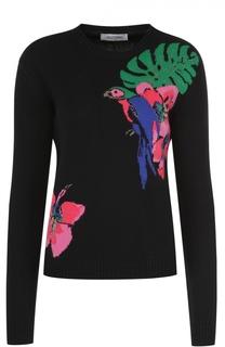 Кашемировый пуловер прямого кроя с контрастным принтом Valentino