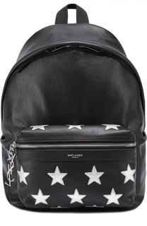 Кожаный рюкзак с аппликацией Saint Laurent