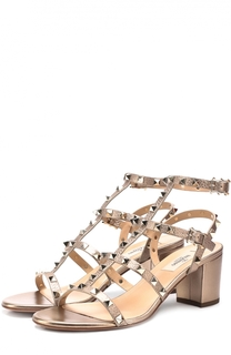 Босоножки Rockstud из металлизированной кожи на устойчивом каблуке Valentino