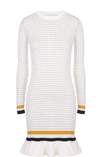 Вязаное платье с контрастной отделкой и оборкой 3.1 Phillip Lim