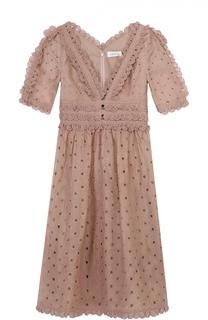 Кружевное приталенное платье с v-образным вырезом Zimmermann