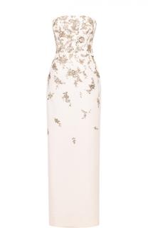 Платье-бюстье с высоким разрезом и контрастной вышивкой Oscar de la Renta