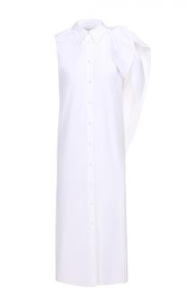 Платье-рубашка прямого кроя без рукавов с оборкой Mm6