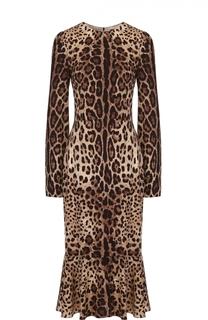 Приталенное платье-миди с леопардовым принтом и длинным рукавом Dolce & Gabbana