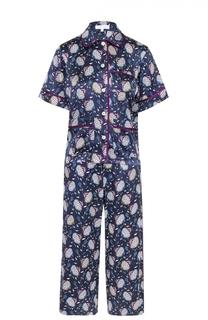 Шелковый пижамный комплект с контрастным принтом Olivia Von Halle