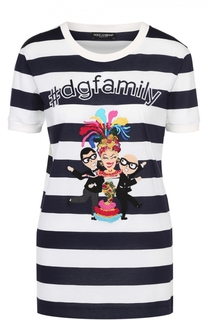 Футболка прямого кроя в контрастную полоску с яркой нашивкой Dolce & Gabbana