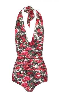 Слитный купальник с открытой спиной и цветочным принтом Dolce & Gabbana