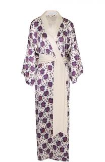 Шелковый халат с цветочным принтом и поясом Olivia Von Halle