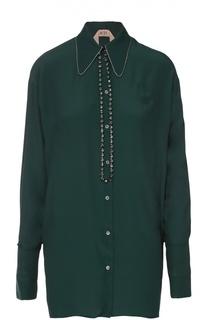 Удлиненная блуза прямого кроя с декоративной отделкой No. 21