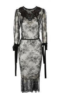 Кружевное платье с вышивкой и лентами на рукавах Marc Jacobs