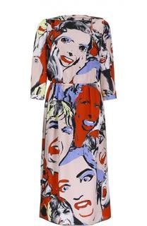 Приталенное платье с контрастным принтом и вырезом лодочка Marc Jacobs