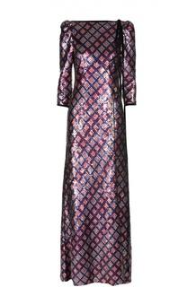 Платье в пол с вырезом-лодочка и пайетками Marc Jacobs