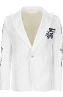 Хлопковый пиджак с принтом Alexander McQueen
