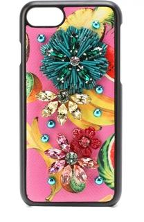 Кожаный чехол для iPhone 7 с принтом и декором Dolce & Gabbana
