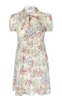Шелковое мини-платье с бантом и контрастным принтом REDVALENTINO