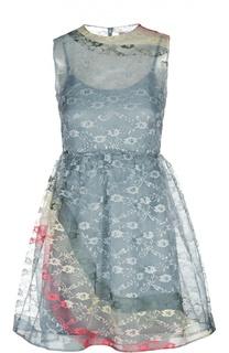 Полупрозрачное кружевное мини-платье без рукавов REDVALENTINO