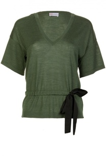 Пуловер с поясом и V-образным вырезом REDVALENTINO