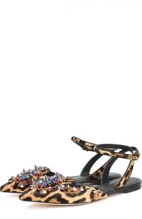 Балетки с меховой отделкой и декором Dolce & Gabbana