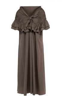 Платье прямого кроя в полоску с открытыми плечами Isa Arfen