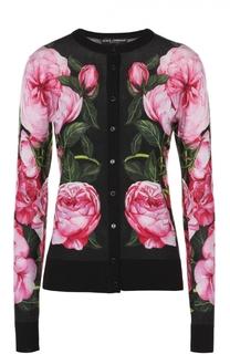 Кашемировый кардиган с цветочным принтом и круглым вырезом Dolce & Gabbana