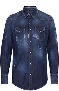 Джинсовая рубашка с декоративными потертостями Dsquared2
