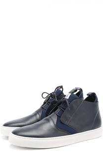 Высокие кожаные кеды на шнуровке с текстильными вставками Z Zegna