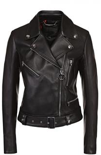 Укороченная кожаная куртка с косой молнией Philipp Plein