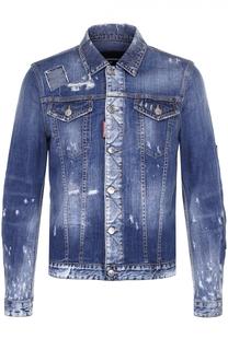 Джинсовая куртка с декоративными потертостями и заплатками Dsquared2