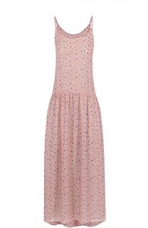 Платье-миди на тонких бретельках с цветочным принтом Poustovit