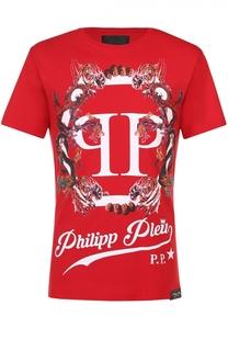 Хлопковая футболка с контрастным принтом Philipp Plein