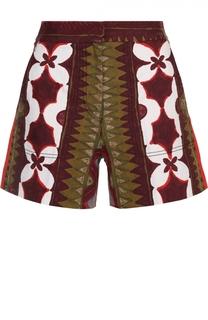 Мини-шорты с завышенной талией и контрастным принтом Valentino