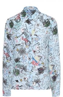 Шелковая блуза прямого кроя с принтом Alice + Olivia