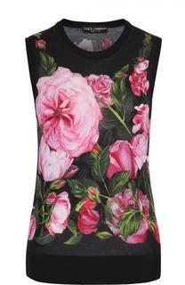 Кашемировый топ без рукавов с цветочным принтом Dolce & Gabbana