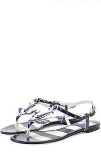 Кожаные сандалии с заклепками Dolce & Gabbana