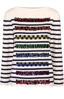 Пуловер прямого кроя с контрастной декоративной отделкой Marc Jacobs
