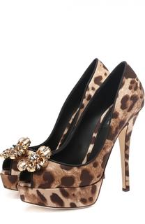 Туфли Bette из текстиля с кристаллами на шпильке Dolce & Gabbana