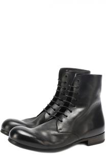 Высокие кожаные ботинки на шнуровке с круглым мысом Marsell