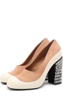 Комбинированные туфли на каблуке с кристаллами Marni