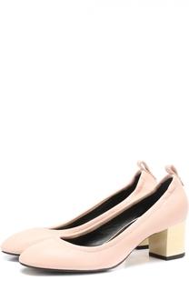 Кожаные туфли на устойчивом каблуке Lanvin