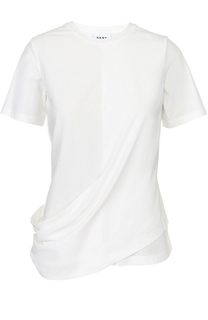 Хлопковая футболка с декоративной драпировкой DKNY
