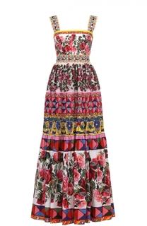 Приталенный сарафан-макси с ярким принтом Dolce & Gabbana
