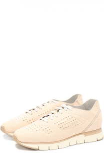 Замшевые кроссовки с перфорацией Santoni